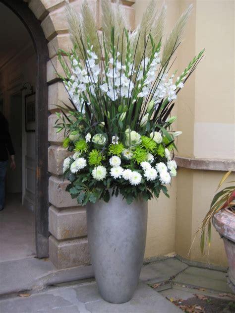 Large Vertical Arrangement with White Gladiola, Steel