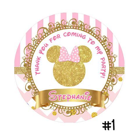 rosa  oro impreso minnie mouse cumpleanos etiqueta engomada lollipop favor de circulo party