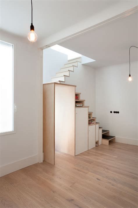 Plywood Stairs Design Space Saving Stair Storage Design In Plywood