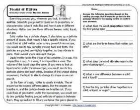 properties of matter reading comprehension worksheets for