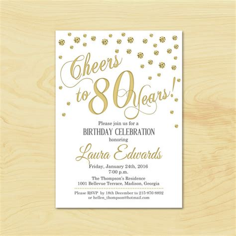 free 80th birthday card template 80th birthday invitation any age gold white invite