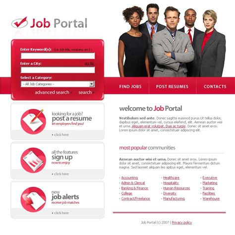 html themes for job portal job portal website template 16768