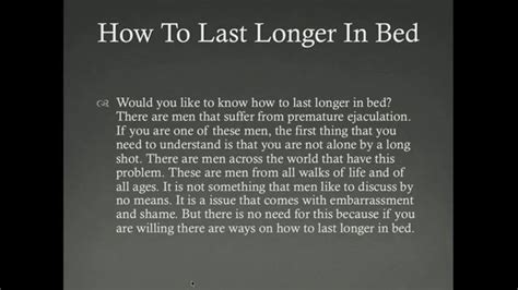 how to stay longer in bed premature ejaculation how to last longer in bed rachael