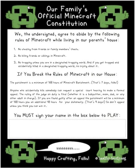 printable house rules poem minecraft tips for parents and addicted kids who love