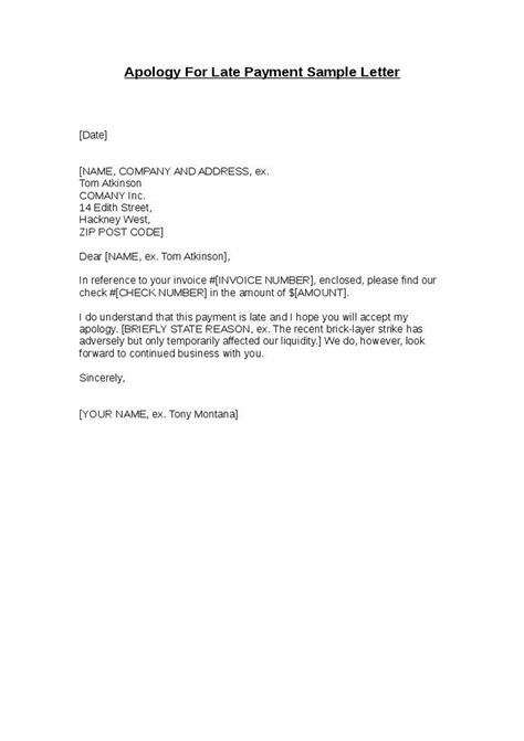 Business Apology Letter For Delay In Payment sle late payment explanation letter
