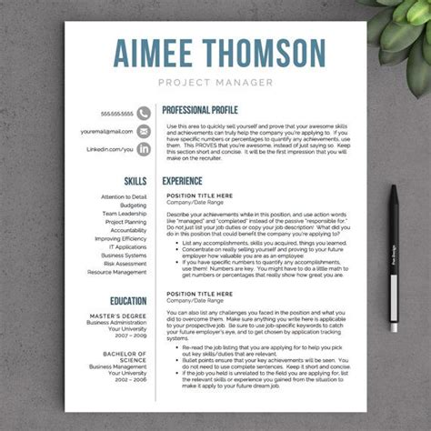 creative cv template pages creative resume template for word pages 1 2 and 3