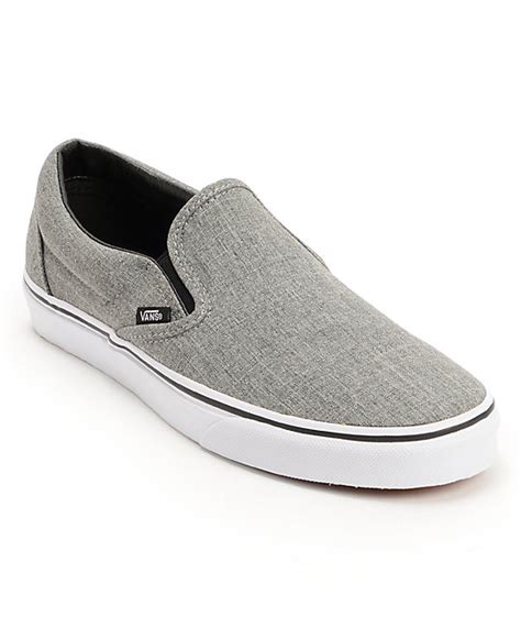 grey slip on shoes vans classic grey white slip on shoe at zumiez pdp
