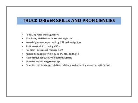 Resume Skills And Abilities For Driver Truck Driver Resume Sle Pdf