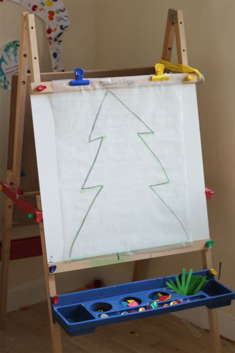 trim a tree sticky easel christmas activity for