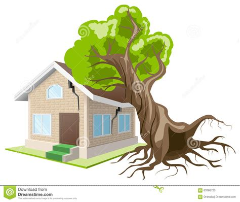 insurance on house tree fell on house home insurance stock vector image 63786725
