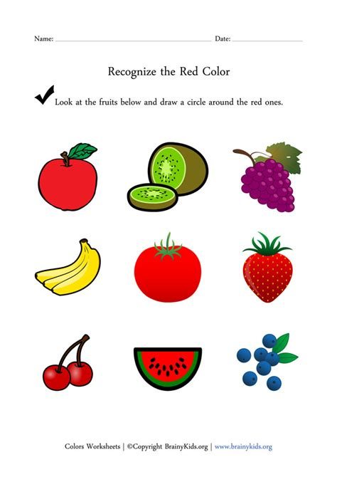 worksheets for preschool fruits recognize the red color fruits worksheet for early