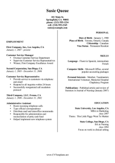 Two Column Cv A4 Two Column Resume Template Word Free
