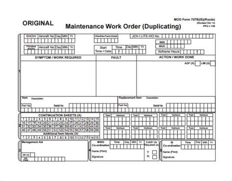 sample maintenance work order forms