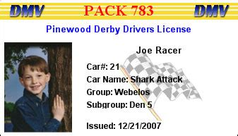pinewood derby drivers license template derbydmv v8 0