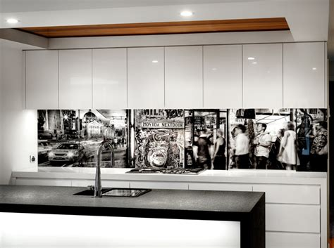 Easy Kitchen Backsplash Ideas vr art glass printed splashback melbourne mono photo art