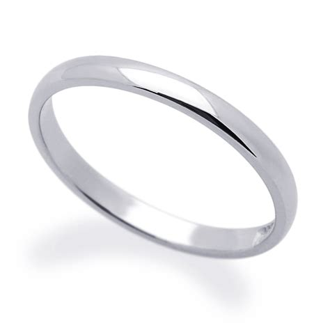 s 14k white gold 2mm classic domed plain wedding band