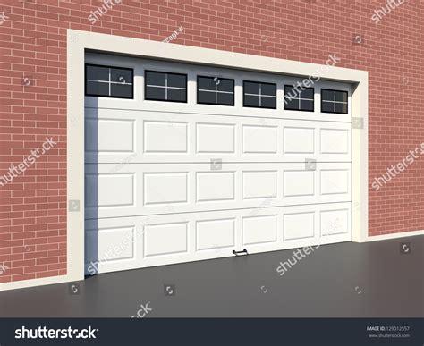 Modern White Garage Door With Windows Stock Photo