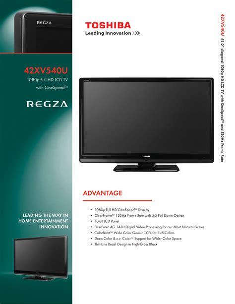 Download Free Pdf For Toshiba Regza 42xv540u Tv Manual