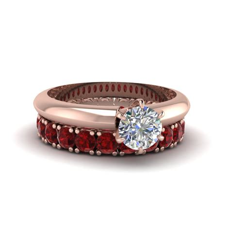 cut ruby solitaire engagement ring with eternity