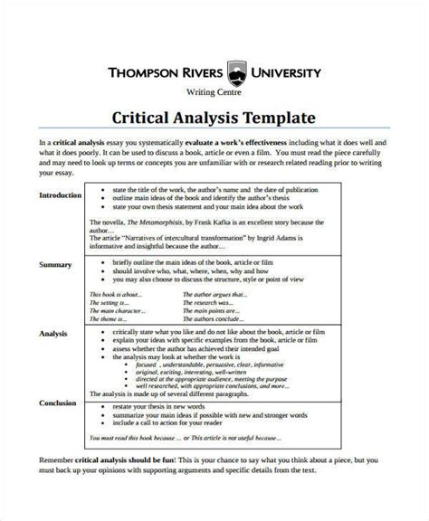 Essay Analysis Exle by Critical Evaluation Template 28 Images Portal 2 Ending Analysis Essay Critical Evaluation