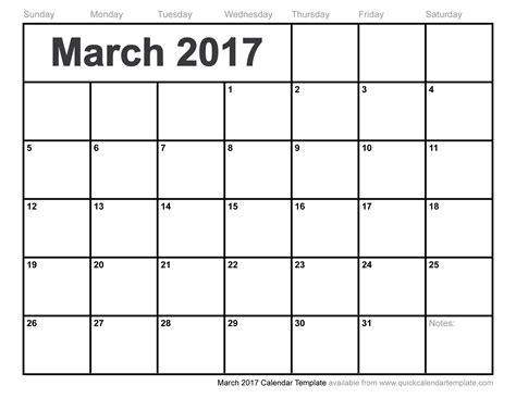 Calendar 2017 March March 2017 Calendar Template
