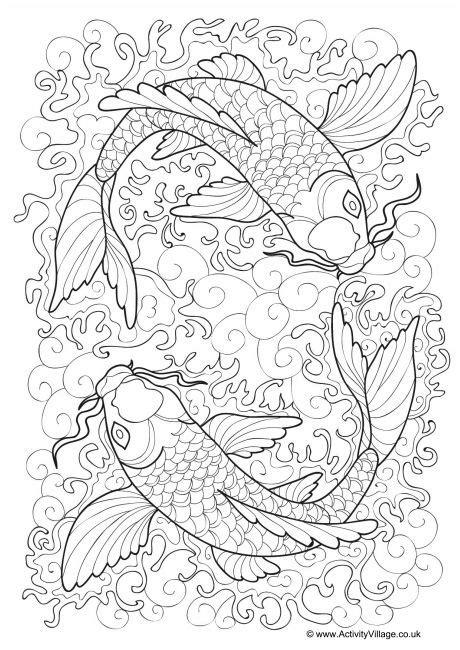 japanese pattern coloring book koi carp colouring page