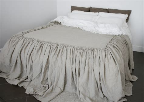 ruffle coverlet linen coverlet dust ruffle ruffled linen bedspread dust