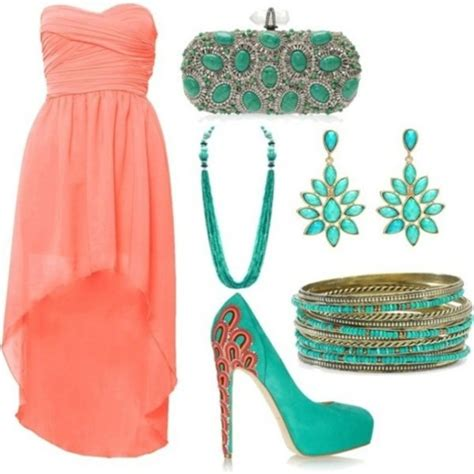 shoes and clothes for dress prom teal coral dress graduation dress high low