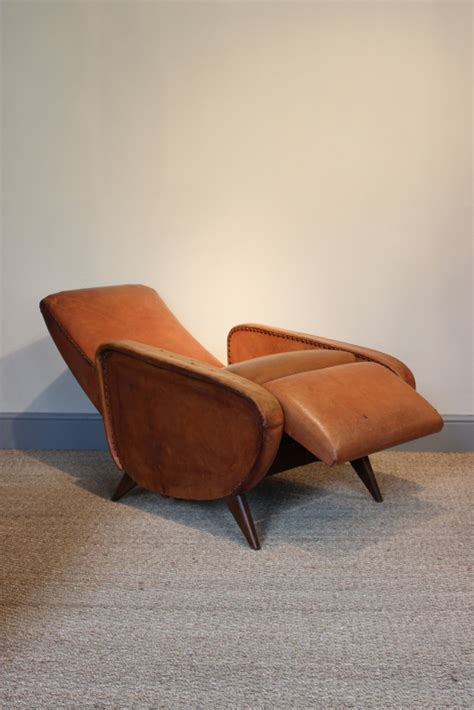 Reclining Leather Armchairs by Comfortable Pair Of 1950s Reclining Leather
