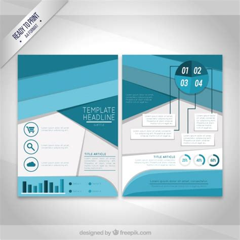 Geometric Blue Flyer Template Free Vectors Ui Download Blue Flyer Template