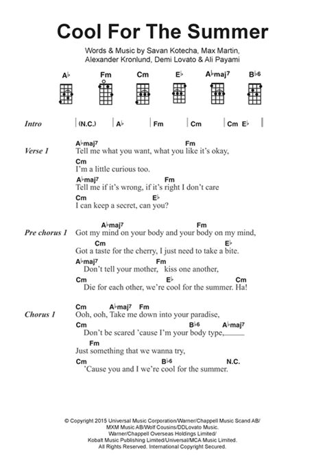 demi lovato havana lyrics cool for the summer sheet music by demi lovato ukulele