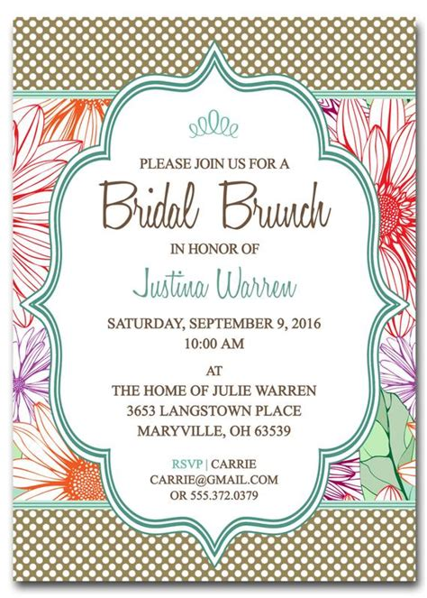 Bridal Shower Brunch Invitation Template By Scripturewallart Birthday Brunch Invitation Template