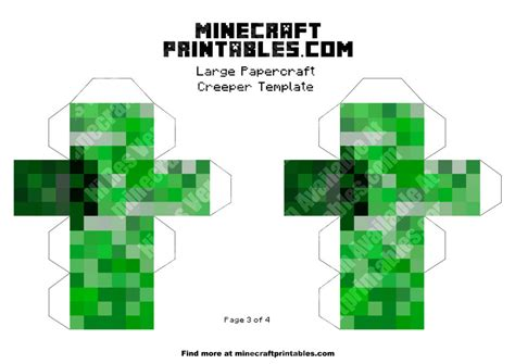 Minecraft Printable Papercraft - creeper printable minecraft creeper papercraft template