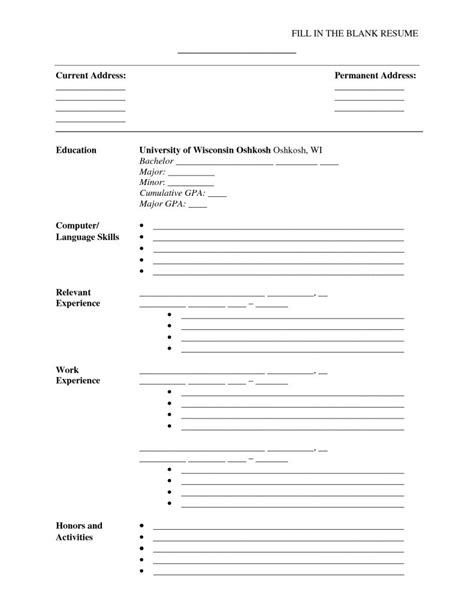 printable basic resume template with outline blank form for autos weblog