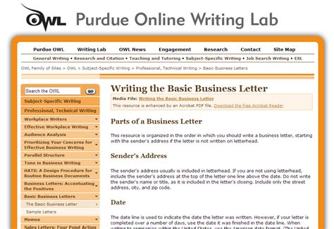 Business Letter Format Owl Purdue Writing Lab Business Resources Mcmurchy