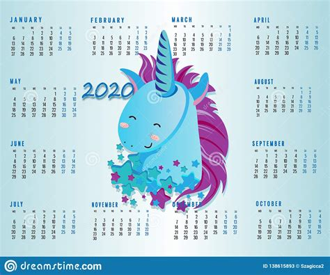 cute unicorn calendar