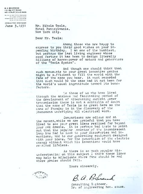 Tesla Letter 75th Birthday Of Nikola Tesla 1931