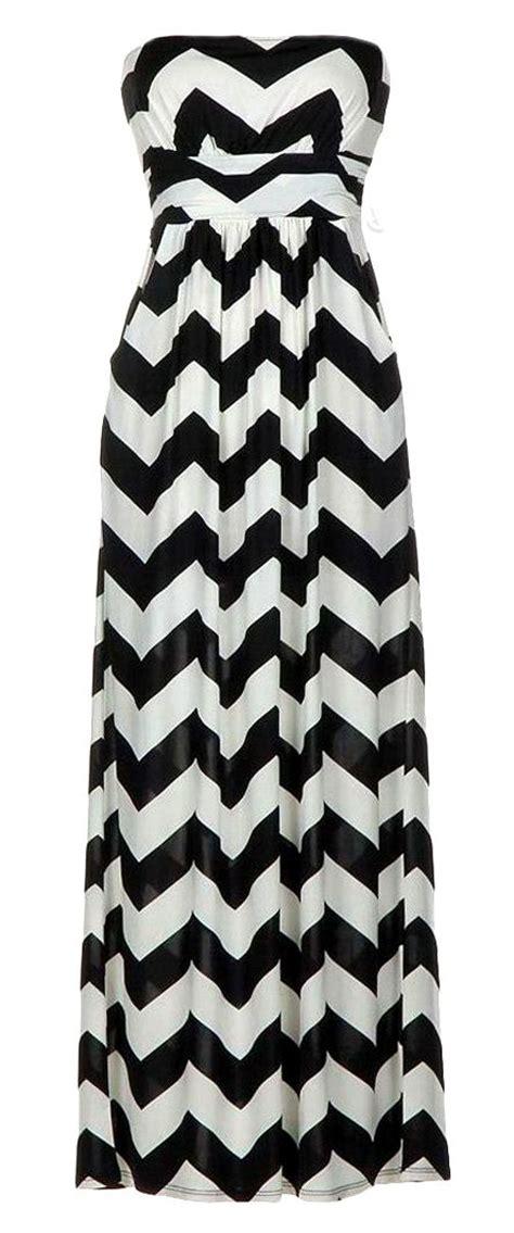 chevron zig zag maxi dress black white