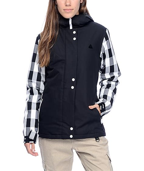 black and white patterned ski jacket aperture cannon black white plaid 10k snowboard jacket