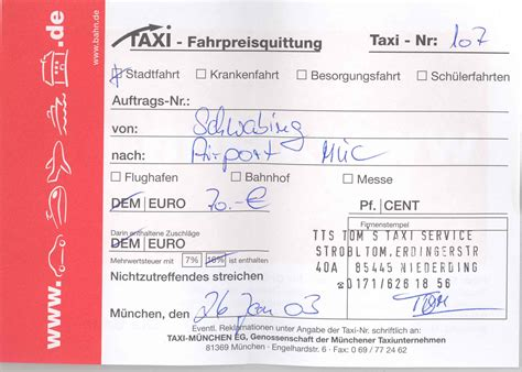 german taxi receipt template german taxi receipt