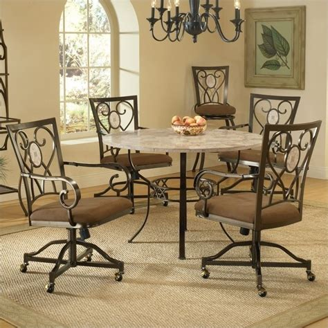Hillsdale Brookside 5 Piece Round Dining Set W Oval Caster Chairs Dining Set