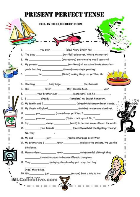 pattern of simple present perfect tense a1 present perfect simple practice engleski pinterest