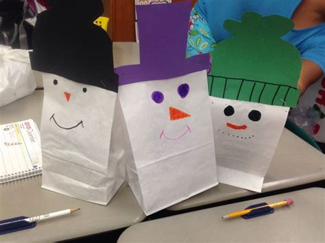 paper bag snowman craft snow snowmen