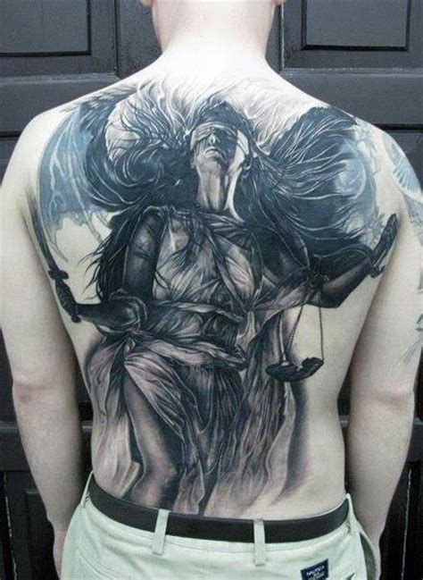 back tattoo justice 40 lady justice tattoo designs for men impartial scale ideas