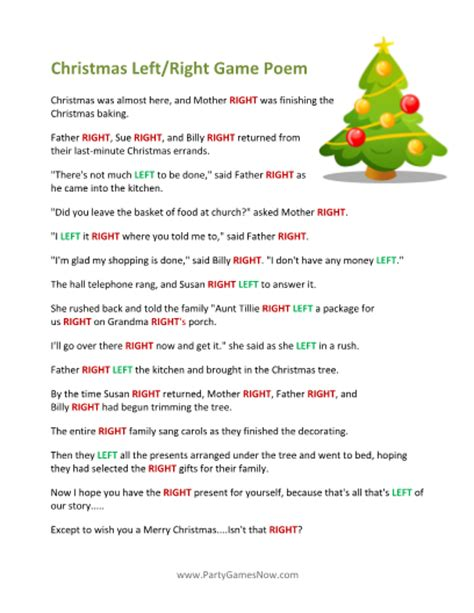 printable left right christmas game poem christmas