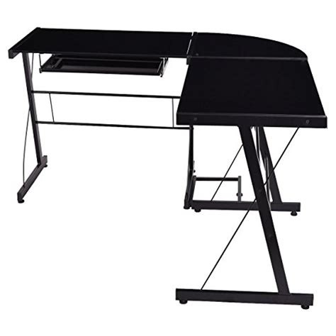 tangkula l shape computer desk pc laptop table glass top