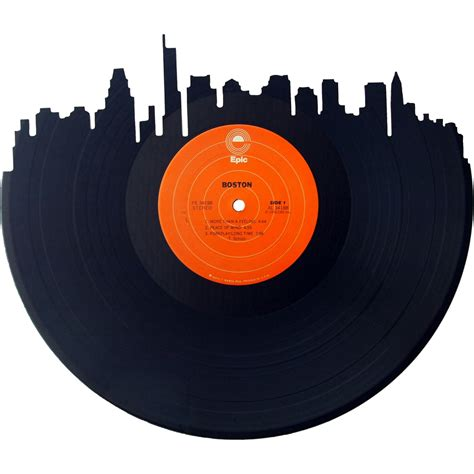 Vinyl Records Boston Skyline Silhouette Vinyl Record Records Redone