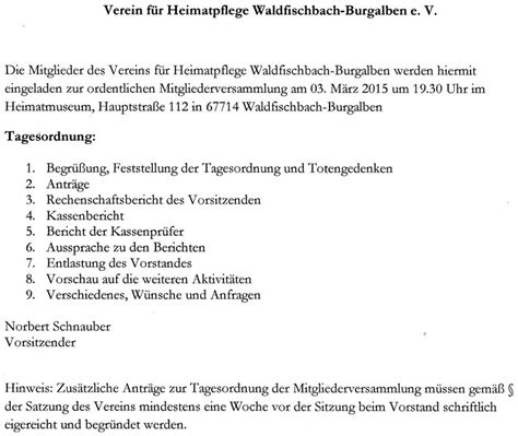 Muster Einladung Zur Jahreshauptversammlung Verein Neue Seite 1