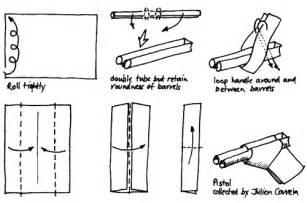 How To Make Paper Weapons Step By Step - origami gun pistol