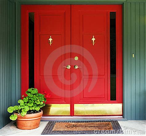red double door entry royalty  stock images image